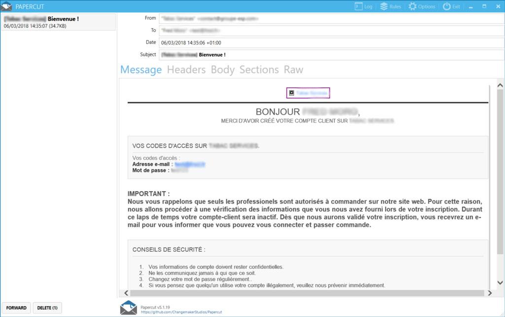 Papercut permet de tester l'envoi de mail en local