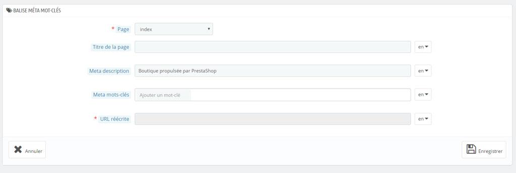 Personnaliser le titre et la description de la homepage d'un site Prestashop