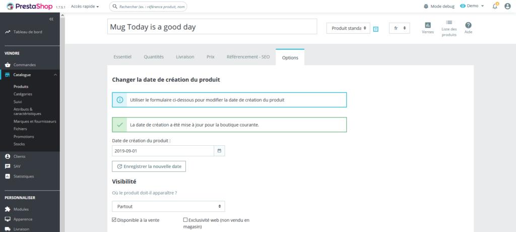 Prestashop 1.7 - Modifier la date de création du produit