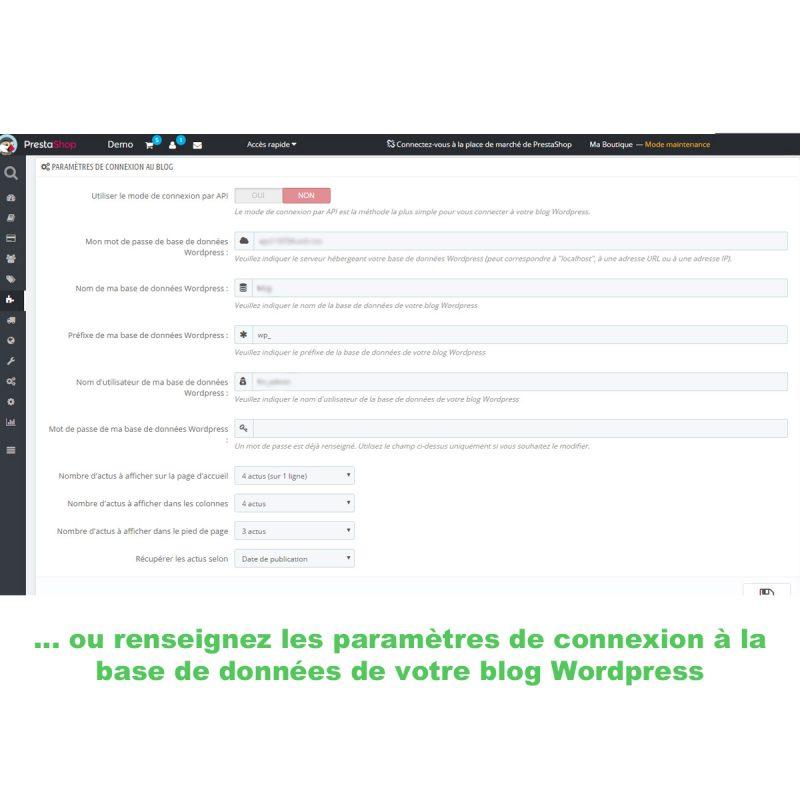 Reliez la base de données de Prestashop à celle de Wordpress