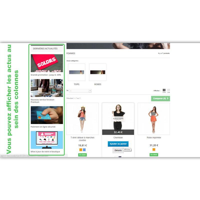 Intégration des news Wordpress dans la colonne d'un site Prestashop