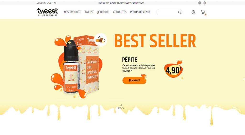 Homepage de la boutique de vente en ligne de e-liquides Tweest