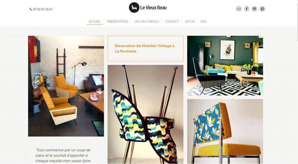 Le Vieux Beau - site Wordpress avec une grille de photos sur la page d'accueil