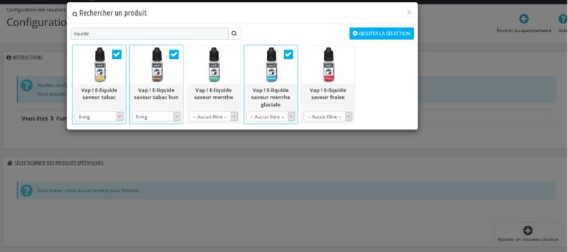 Configuration des produits recommandés via le questionnaire disponible sur votre boutique Prestashop