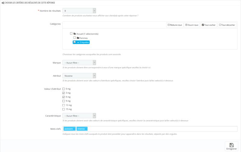Paramétrage des critères de recommandation de produits du module de questionnaire conseils produits